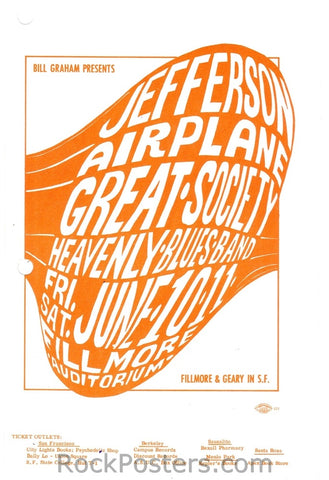 BG10 - Jefferson Airplane Handbill - Fillmore Auditorium (10-Jun-66) Condition - Excellent