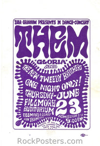 BG12 - Them Handbill - Fillmore Auditorium (23-Jun-66) Condition - Near Mint