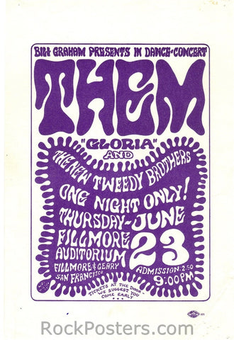 BG12 - Them Handbill - Fillmore Auditorium (23-Jun-66) Condition - Excellent