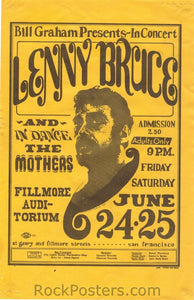BG13 - Lenny Bruce Handbill - Fillmore Auditorium (24-Jun-66) Condition - Excellent