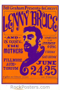BG13 - Lenny Bruce Postcard - Fillmore Auditorium (24-Jun-66) Condition - Near Mint