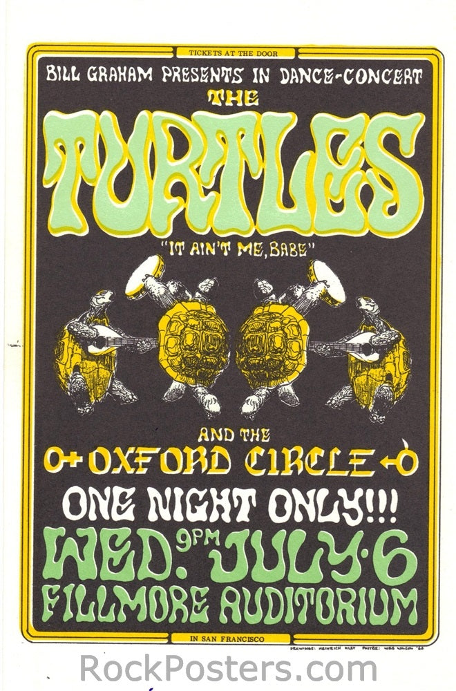 BG15 - Turtles Postcard - Fillmore Auditorium (06-Jul-66) Condition - Near Mint