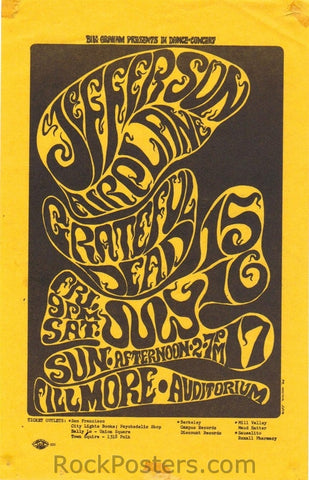BG17 - Jefferson Airplane Handbill - Fillmore Auditorium (15-Jul-66) Condition - Excellent