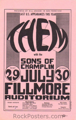 BG20 - Them Handbill - pink - Fillmore Auditorium (29-Jul-66) Condition - Excellent