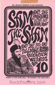 BG22 - Sam the Sham and the Pharaohs Handbill - Fillmore Auditorium (10-Aug-66) Condition - Excellent
