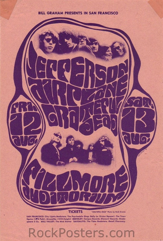 BG23 - Jefferson Airplane Handbill - Fillmore Auditorium (12-Aug-66) Condition - Excellent