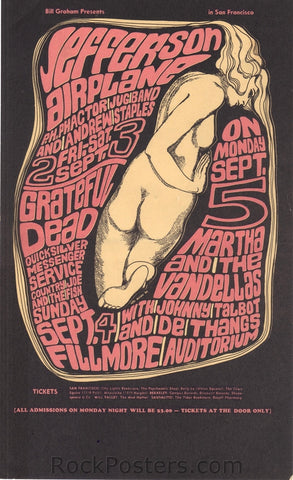 BG26 - Jefferson Airplane Handbill - Fillmore Auditorium (02-Sep-66) Condition - Excellent