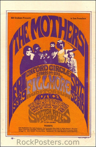 BG27 - Mothers of Invention Handbill - Fillmore Auditorium (09-Sep-66) Condition - Excellent