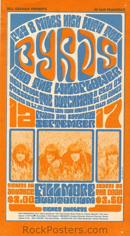 BG28 - The Byrds Handbill - Fillmore Auditorium (16-Sep-66) Condition - Excellent