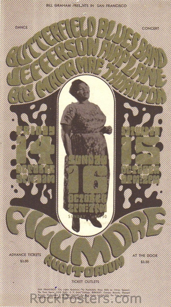 BG31 - Butterfield Blues Band Handbill - Fillmore Auditorium (14-Oct-66) Condition - Excellent