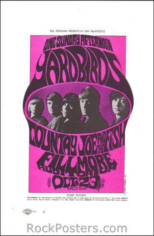 BG33 - Yardbirds Handbill - Fillmore Auditorium (23-Oct-66) Condition - Excellent