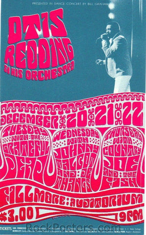 BG43 - Otis Redding Handbill - Fillmore Auditorium (20-Dec-66) Condition - Excellent