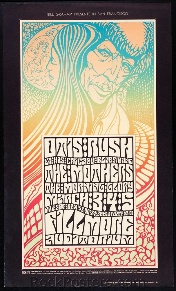 BG53 - Otis Rush and His Chicago Blues Band Postcard - Type B - Fillmore Auditorium (03-Mar-67) Condition - Near Mint