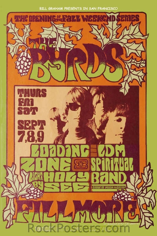 BG82 - The Byrds Poster - Fillmore Auditorium (07-Sep-67) Condition - Near Mint