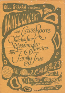 BG0 - Grass Roots Quicksilver Handbill - Fillmore Auditorium - Condition - Very Good