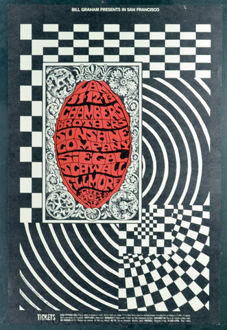 BG102 - Chambers Brothers Poster - Fillmore Auditorium (Jan- 11-13 -1968) Condition - Mint