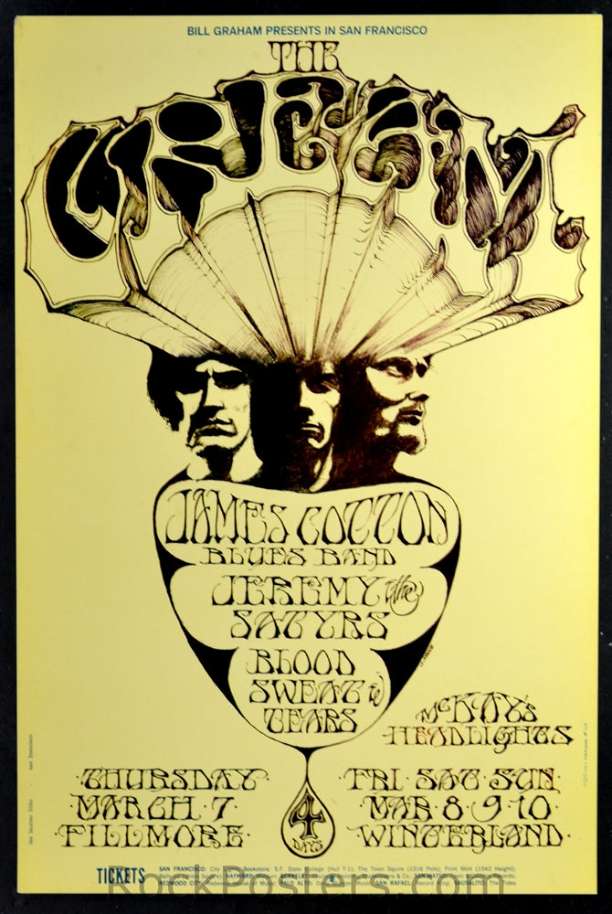 BG110 - Cream Poster - SECOND PRINT -Fillmore Auditorium (07-Mar-68) Condition - Excellent