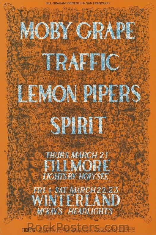 BG112 - Moby Grape Poster - Fillmore Auditorium (21-Mar-68) Condition - Near Mint