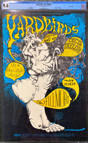 BG-121 - Yardbirds Poster - Fillmore Auditorium - Condition - CGC Graded  9.6