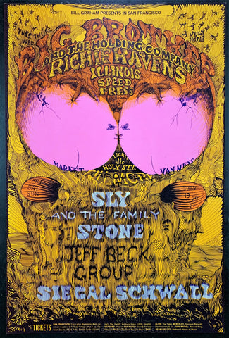 AUCTION - BG129 - Jeff Beck Big Brother Janis Artist Signed Poster  - Fillmore West - Condition - Near Mint Minus