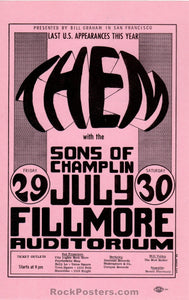 AUCTION - BG20 - Them Van Morrison 1966 Original Handbill - Fillmore Auditorium - Condition - Mint