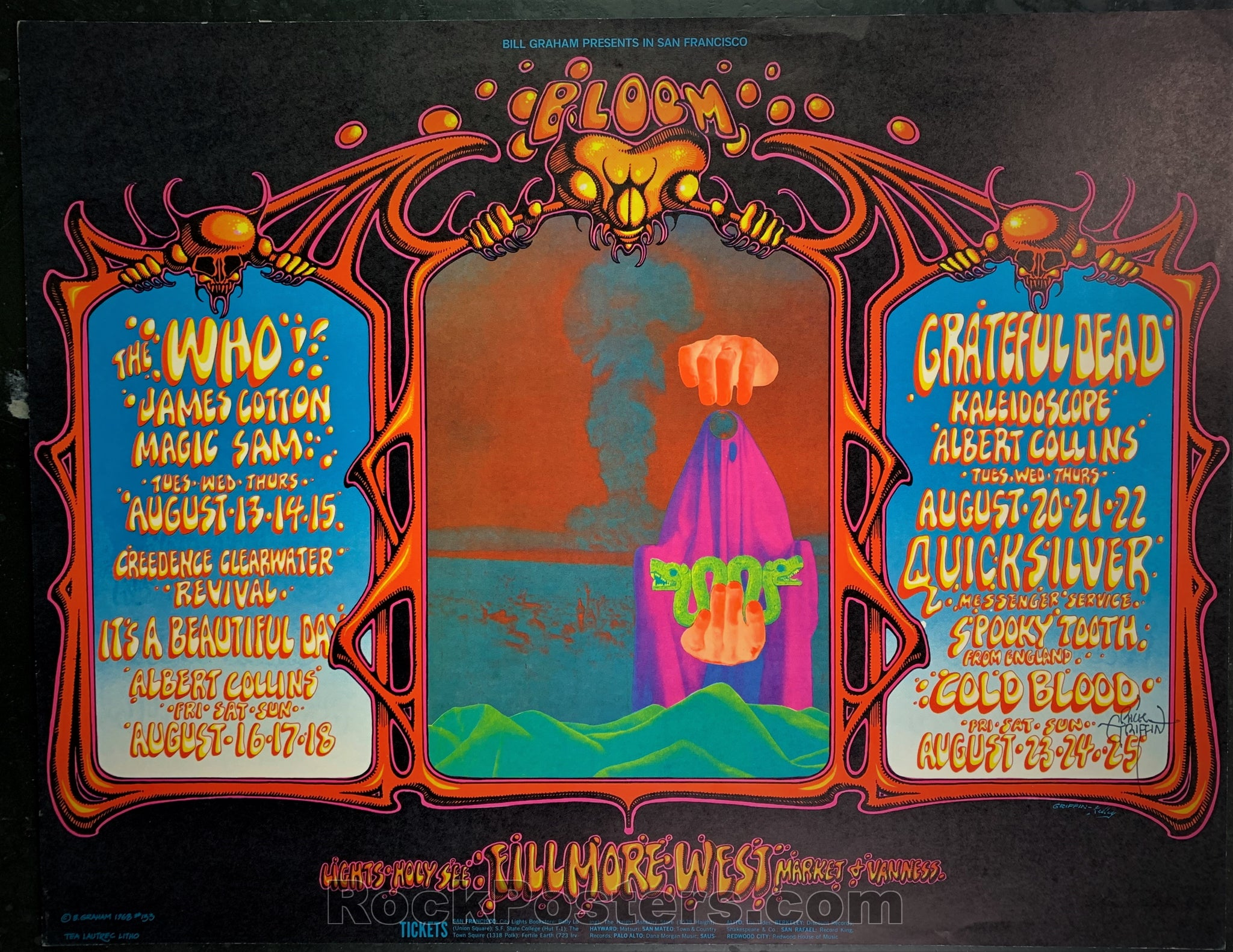 AUCTION - BG133 - The Who Grateful Dead - Rick Griffin SIGNED Poster - Fillmore West - Condition - Excellent