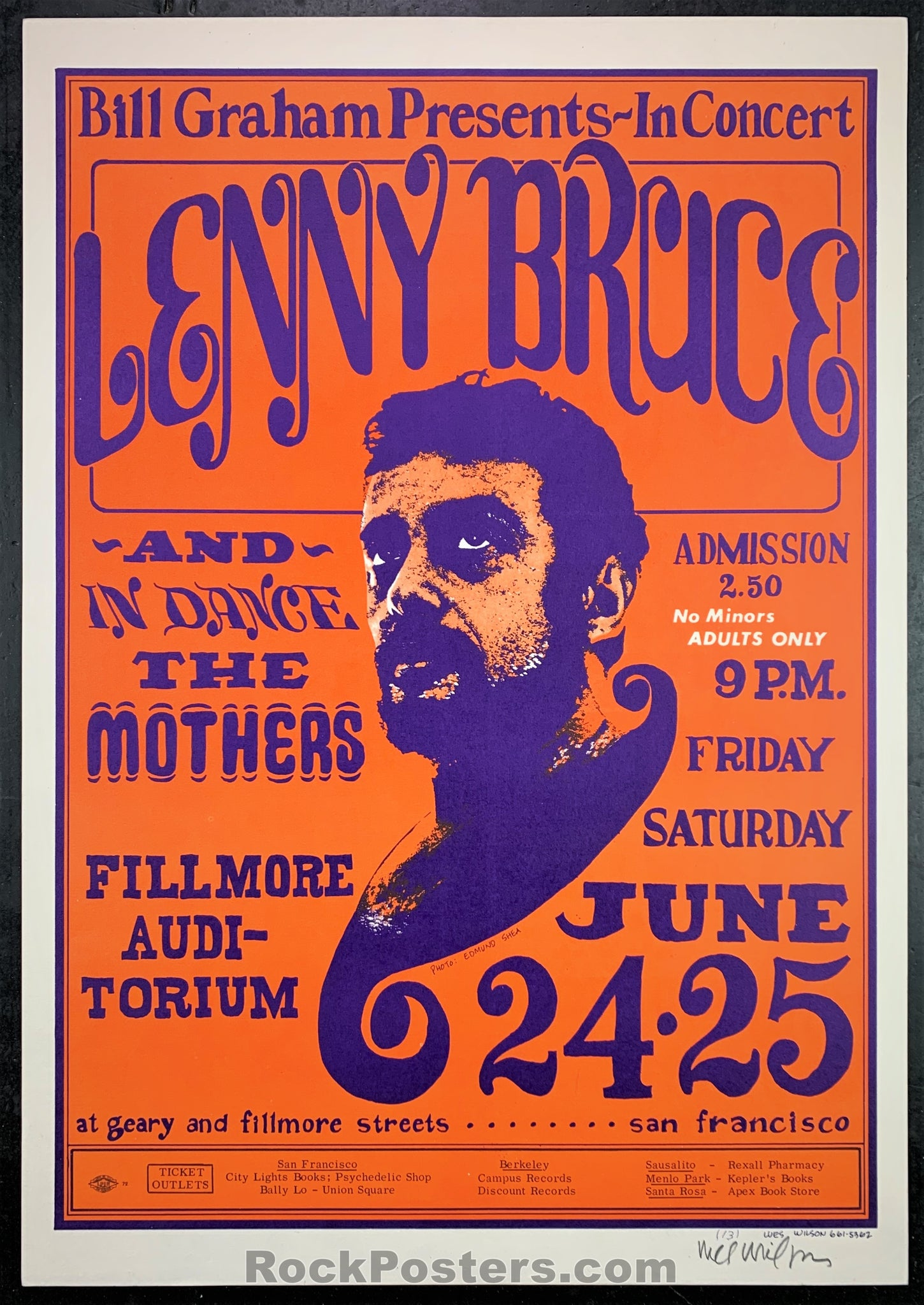 BG13 - Lenny Bruce, Mothers Poster - Fillmore Auditorium - Condition - Near Mint