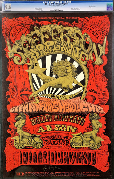 BG142 - Jefferson Airplane Signed Poster  - Fillmore West - Condition - CGC Graded 9.6