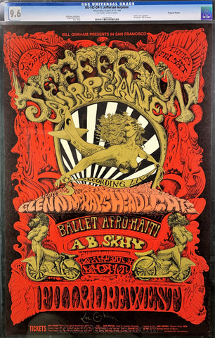 BG-142 - Jefferson Airplane Signed Poster  - Lee Conklin Signed - Fillmore West - Condition - CGC Graded 9.6