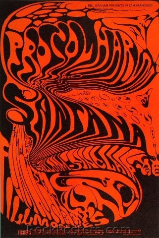 BG143 - Procol Harum & Santana Poster - Fillmore Auditorium (31-Oct-68) Condition - Mint
