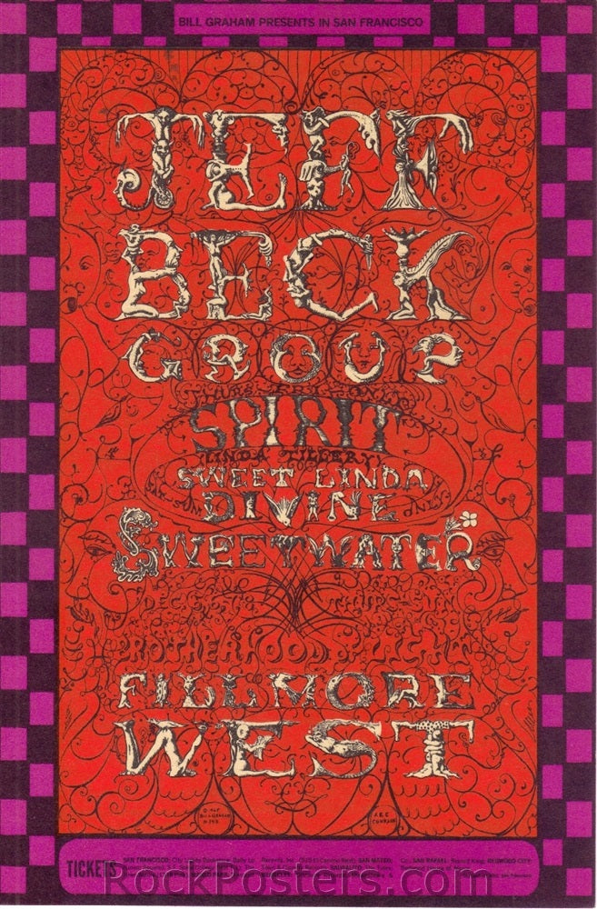 BG148 - Jeff Beck Postcard - Fillmore Auditorium (05-Dec-68) Condition - Excellent