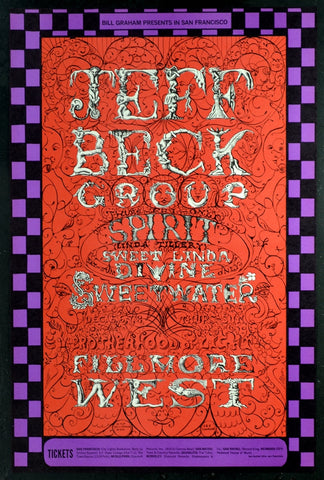 BG148 - Jeff Beck Poster - Fillmore Auditorium (05-Dec-68) Condition - Near Mint