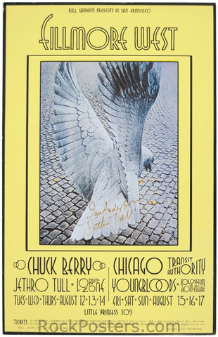 BG187 - Chuck Berry Poster - Fillmore Auditorium (12-Aug-69) Condition - Excellent
