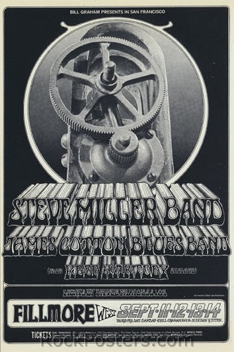 BG191 - Steve Miller Blues Band Poster - Fillmore Auditorium (11-Sep-69) Condition - Excellent