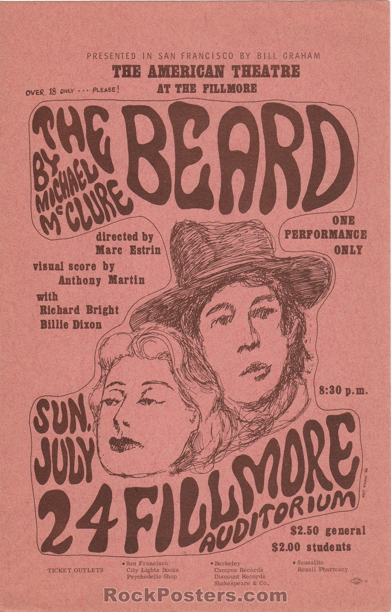 AUCTION - BG 19 -  The Beard Wes Wilson Handbill Brown Ink/Paper Version - Fillmore Auditorium - Condition - Near Mint