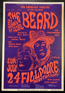 BG19  - The Beard Poster - Wes Wilson Signed - Fillmore Auditorium - Condition - Very Good
