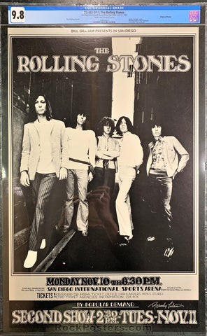 BG202 - The Rolling Stones Signed Poster - San Diego Intl Sports Arena - Condition - CGC Graded 9.8