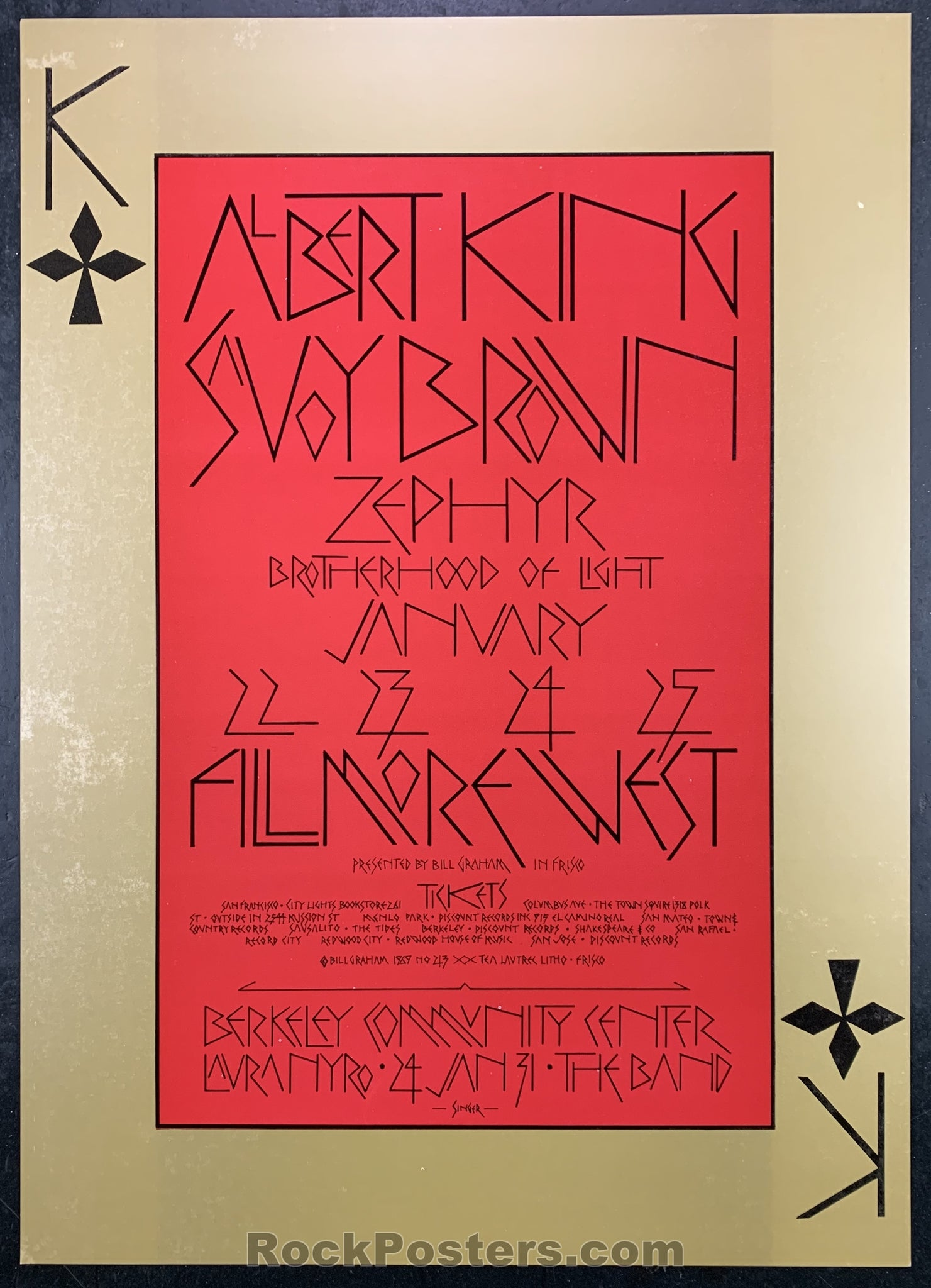 BG-213 - Albert King Poster - Fillmore West- Condition - Near Mint