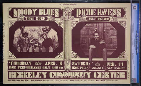 AUCTION - BG-215A - Moody Blues Richie Havens Poster - Bonnie MacLean Signed - Berkeley Community - CGC Graded 9.8
