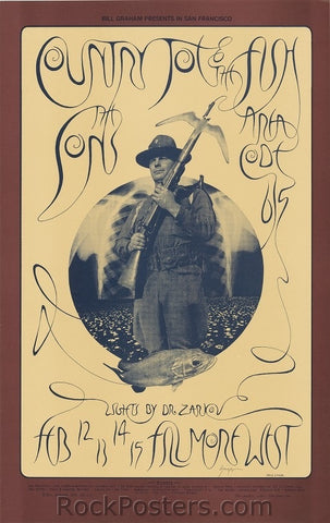 BG217 - Country Joe & the Fish Poster - Singer Signed - Fillmore Auditorium (12-Feb-70) Condition - Near Mint
