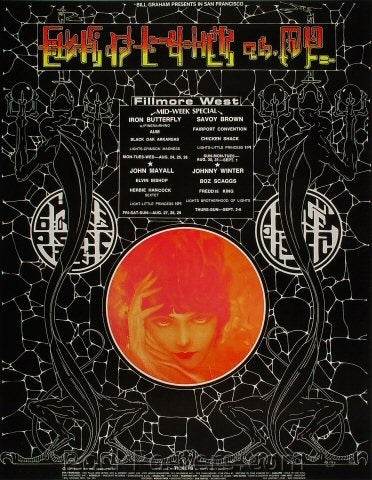 BG247 - Iron Butterfly Poster - oversize - Fillmore Auditorium (24-Aug-70) Condition - Near Mint