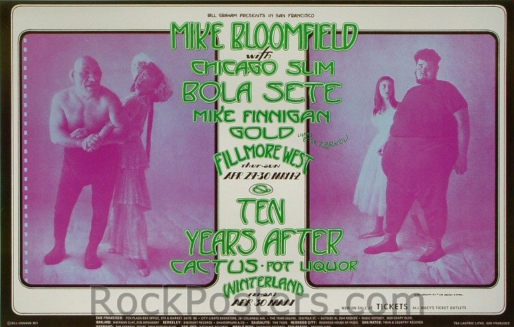 BG278 - Mike Bloomfield with Chicago Slim Poster - Fillmore Auditorium (29-Apr-71) Condition - Near Mint