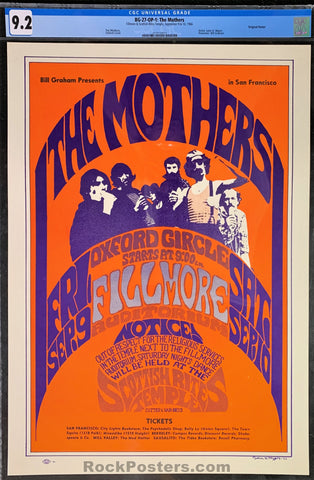 AUCTION - BG27 - Mothers Frank Zappa - Fillmore Auditorium - Condition - CGC Graded 9.2