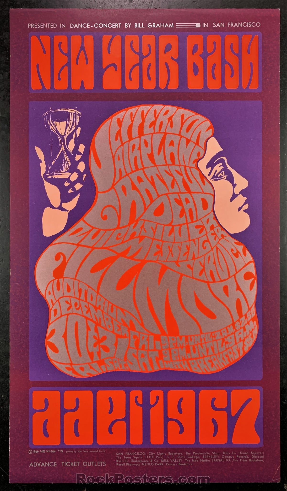 AUCTION - BG37 - Grateful Dead  New Years 66-67 Concert Poster - Fillmore  Auditorium - Condition - Excellent