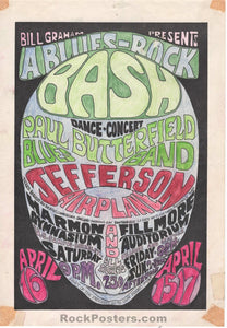 AUCTION - BG-3 - Jefferson Airplane Hand Colored Fillmore 1966 Handbill - Very Good