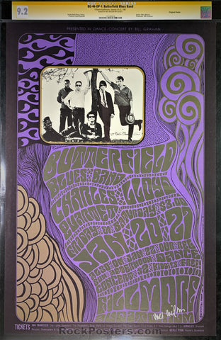 BG46 - Butterfield Blues Band Signed Poster - Fillmore Auditorium - Condition - CGC Graded 9.2