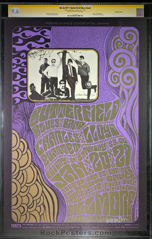 BG46 - Butterfield Blues Band Signed Poster - Fillmore Auditorium - Condition - CGC Graded 9.6