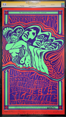 AUCTION - BG-48 - Jefferson Airplane 1966 Poster - Wes Wilson Signed - Fillmore Auditorium - CGC Graded 9.4