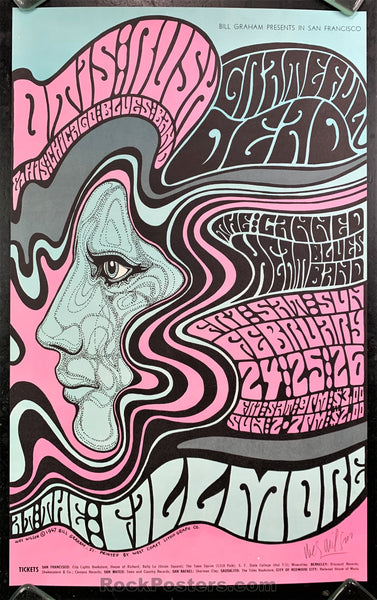 AUCTION - BG-51 - Grateful Dead Fillmore Poster - Wes Wilson Signed - Near Mint Minus