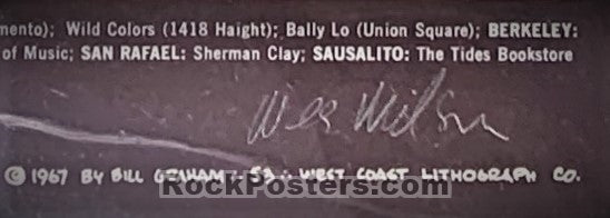 BG-53 - Otis Rush and His Chicago Blues Band Poster - Wes Wilson Signed - Fillmore Auditorium - Condition - GCG Graded 8.0